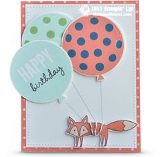 """Happy Birthday you fox you! hahaha Having some """"outside the box"""" fun with the  fox in the Life in the Forest stamp set, tying him to some birthday balloons from the Celebrate Today stamp set and cutting them out with the coordinating thinlits. The fox is colored with the Stampin Up Blendabilities markers. Layered on the Birthday Bash designer paper background."""