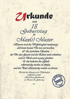 Urkunde 18.Geburtstag Karte Geburtstagskarte 18 Jahre Volljährig Urkunde(C671)