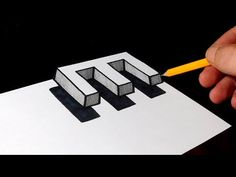 How to Draw 3D Floating Letter E - Easy Trick Art for Kids - YouTube