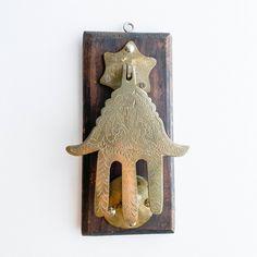 Vintage Hamsa Door Knocker | Moroccan Brass Hand of Fatima Hand Of Fatima, Wooden Plaques, Hamsa Hand, Door Knockers, Religious Art, So Little Time, Barn Wood, Moroccan, Brass