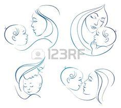 Мать с ребенком. Множество линейных иллюстрации силуэт Фото со стока