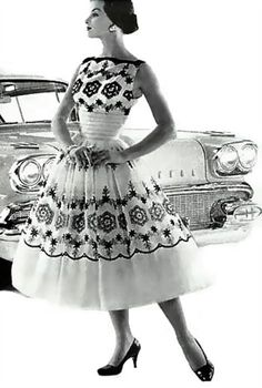 ~black and white sheer dress lace car vintage 50s photo print ad model magazine full skirt party dress cocktail~