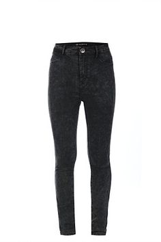 Acid wash. High rise waist. Flat front. Double back pockets. Skinny fit.<BR><BR>Fabric Content:<BR>72% Cotton 26% polyester 2% Spandex<BR><BR>Wash Care:<BR>Machine washable