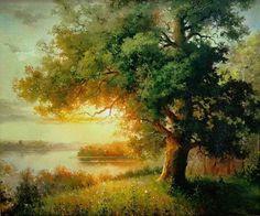 Watercolor Landscape Paintings, Watercolor Trees, Nature Paintings, Beautiful Paintings, Landscape Art, Beautiful Landscapes, Images D'art, Art Et Nature, Art Pictures