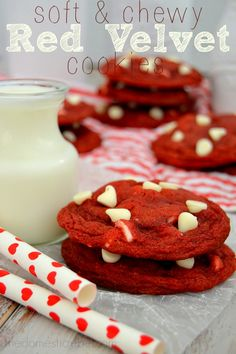 Soft & Chewy Red Velvet Cookies are to-die for! Rich and gooey, these will soon become your new favorite! #redvelvet #cookies