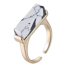 eManco Natural stone Turquoise gold plated Copper Cuff square Rings for Women (White)