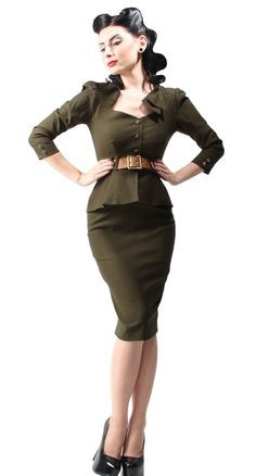 Love this army inspired 40's dress
