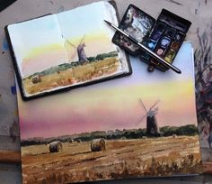 Alan Reed ‏@adailysketch Watercolour @Gabriela Figueroa paints Burnham Overy Mill #Norfolk based on sketchbook study painted on location. pic.twitter.com/7oabwARZRW