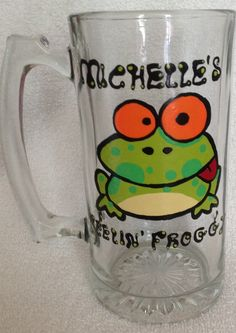 Hand painted goofy frog beer mug. Painted by Erika's Hand Painted Glass, look for me on FB.