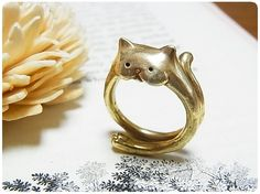 Cat Jewelry, Animal Jewelry, Women Jewelry, Latest Gold Ring Designs, Cat Ring, Cat Accessories, All About Fashion, Gold Rings, Style Inspiration