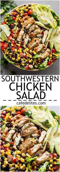 Chili Lime Southwestern Chicken Salad with a low fat and CREAMY Cilantro Chili L. - Chili Lime Southwestern Chicken Salad with a low fat and CREAMY Cilantro Chili Lime Dressing that d - Clean Eating, Healthy Eating, Healthy Food, Soup And Salad, Pasta Salad, Southwestern Chicken Salads, Mexican Chicken Salads, Southwestern Style, Healthy Recipes
