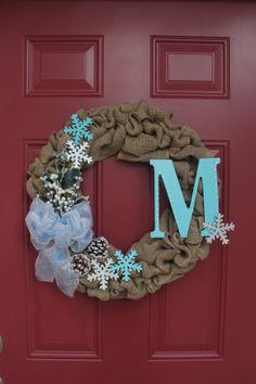 Winter Burlap Wreath Personalized Monogram by AnnesArtShoppe, $55.00