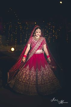 Red velvet bridal lehenga for the wedding You can find different rumors about the history … Indian Bridal Photos, Indian Bridal Outfits, Indian Bridal Fashion, Indian Bridal Wear, Bridal Dresses, Bride Indian, Indian Wear, Designer Bridal Lehenga, Wedding Lehenga Designs