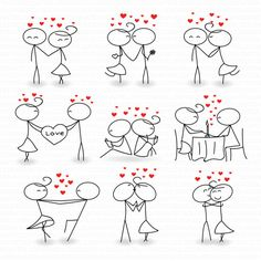 Stick Figure Clipart Clip Art Love Stick People Couple Clipart Clip Instant Download Art Commercial & Personal Use Valentine's day