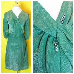 RARE Vintage 1950s GREEN Chromespun Silver Threaded Lurex Cocktail Wiggle Dress