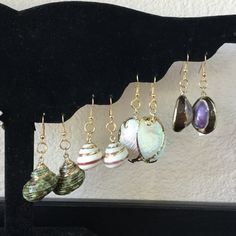 Seashore Seashell Earrings Lot of 4 These are so pretty handmade and hand dipped in gold. Lightweight and perfect for summer. Jewelry Earrings