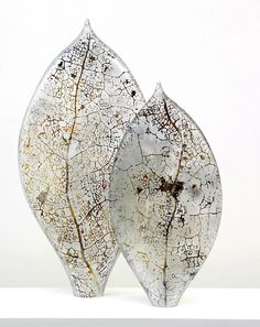 Holly Grace, Leaf - Leaf Forms - 2P composition [2008] blown glass with sandblasted imagery 57x43cm #glassart #PurelyInspiration