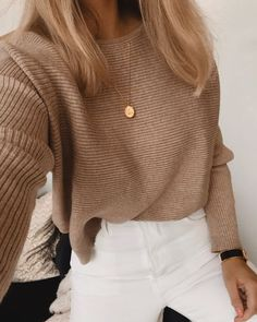 cableknit sweater + gold disc necklace + white pants outfit blonde hair ideas best fall and winter outfits for teens casual everyday outfits for teens Edgy Outfits, Cute Outfits, Fashion Outfits, Casual Outfits For Teens, Fashion Clothes, Trendy Clothes For Teens, Insta Outfits, Denim Outfits, Black Outfits