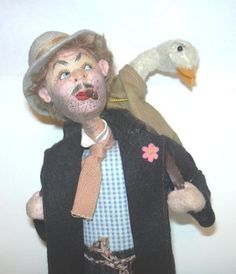 "SOLD VINTAGE KLUMPE DOLL SPAIN MAN WITH GOOSE 10 3/4"" TALL EX COND NR"