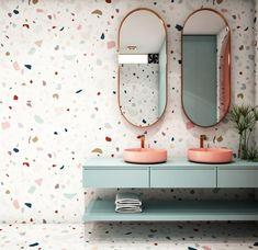 Terrazzo wallpaper is a more cost effective alternative to tiles, and still gives the same modern, arty style. Terrazzo is bang on trend this year and we're already seeing it everywhere! Terrazzo, Modern Bathrooms Interior, Bathroom Interior Design, Bad Inspiration, Bathroom Inspiration, Inexpensive Bathroom Remodel, Bathroom Wallpaper, Interior Wallpaper, Small Bathroom