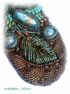 Bead embroidery, Cabochon, Glas, Türkis, Cuff, Bracelet, Armband, Armreif, Manchette