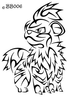 #058: Tribal Growlithe by blackbutterfly006.deviantart.com on @deviantART #tattoo #tribal