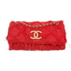 Pre-owned Chanel Tweed Nature Flap Bag (8,435 SAR) ❤ liked on Polyvore featuring bags, handbags, red, handbag purse, red purse, hand bags, pre owned handbag and zipper handbags