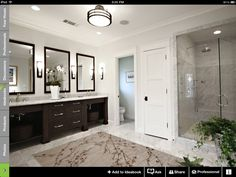 Traditional Bathroom Dark Wood Bathroom Design, Pictures, Remodel, Decor and Ideas - page 2 Large Bathroom Rugs, Dark Wood Bathroom, Large Bathrooms, White Bathroom, Bathroom Interior, Master Bathroom, Modern Bathroom, Luxurious Bathrooms, Classic Bathroom