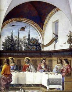 Domenico Ghirlandaio (1449-1494) ~ The Last Supper (detail) ~1480 ~ Detail of a life-size Last Supper in the refectory of the Church of Ognissanti in Florence.  Note the beautifully woven table covering.