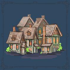당근색 건물  #art #artwork #architecture #design #illustration #photoshop #cs6 #그림 #fantasy #conceptart #landscape #game #gameart #perspective #배경원화 #지제이#painting #color #minimal