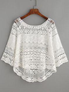 White Crochet Hollow Out Dip Hem Blouse