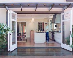 Trellis patio awning, accordian bi-fold doors!