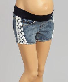 Look what I found on #zulily! Medium Wash Snowflake-Stripe Maternity Cutoff Shorts - Women by Mom & Co. #zulilyfinds