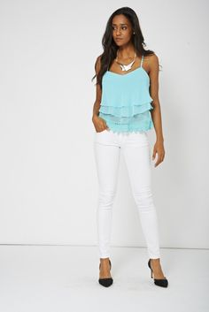 Blue Crop Frill Camisole Top