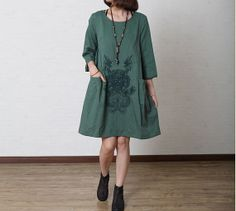 Green Blue Long Autumn Clothes For Women/Cotton Linen Loose Fitting Fall Clothes/Long Women Dresses with Embroidery Flower