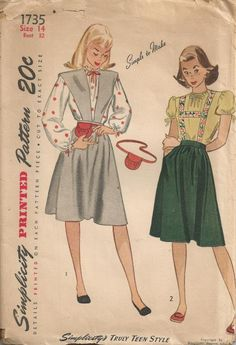 1945 Teenage Jumper Blouse Purse and Belt Simplicity