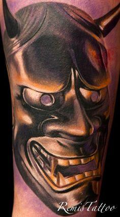 bronze hannya mask tattoo by ~Remistattoo on deviantART