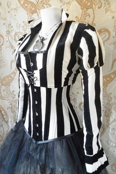Steampunk Victorian stripe jacket jacketsize by AliceAndWillow perfect for a performer in the Night Circus. Poppet maybe?