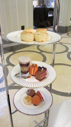 Cake stand at Corinthia Hotel London
