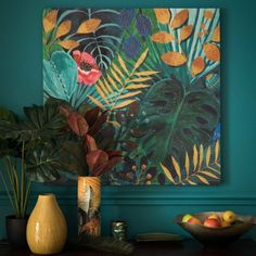 45 Beautiful Tropical Wall Decor Ideas - No matter what kind of day a person has had, walking into a room with tropical wall decor will most definitely make the person's day better. Tropical Wall Decor, Tropical Furniture, Tropical Interior, Tropical Houses, Tropical Decor, Tropical Prints, Tropical Colors, Plant Painting, Painting Inspiration