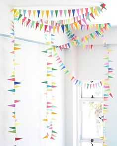 (In Black/Brass/White?) This classic bunting DIY is still my favorite. It looks modern and fresh and all you need is paper and a sewing machine. See the ohhappyday.com archives for instructions.