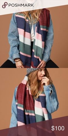 Long Striped Olbong scarf colorful Description: SUPER SOFT MULTI COLORED STRIPE OLBONG SCARF  100% ACRYLIC  APPROX. 82 X 36  c Accessories Scarves & Wraps