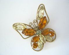 rhinestone butterfly brooch pin vintage gold by DancewithJewels