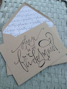 Bridesmaid Card Calligraphy Kraft . $4.00, via GreySnailPress on Etsy.    LUV this!!!