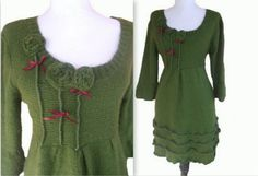 Rosette Sweater Dress L von RebeccasArtCloset auf Etsy