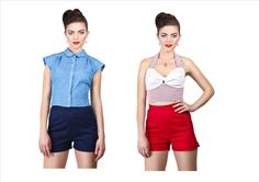 Collectif Kathy 1950 s High Waist Shorts Blue Red Rockabilly Pin Up Retro New