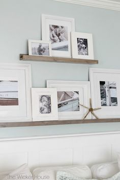 Learn how to make these simple and functional DIY picture ledges to display your favorite photographs City Farmhouse wall decor, wall art City Farmhouse, Farmhouse Decor, Coastal Farmhouse, Farmhouse Ideas, Coastal Cottage, Coastal Homes, Farmhouse Style, Picture Shelves, Wall Shelves