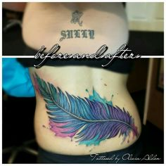 Cover up feather tattoo by artist Olivia Alden