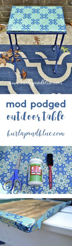 mod podged outdoor table using mod podge outdoor, a thrifted table, and a gorgeous piece of wrapping paper!