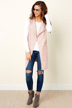 Love And Light Blush Pink Vest at reddressboutique.com